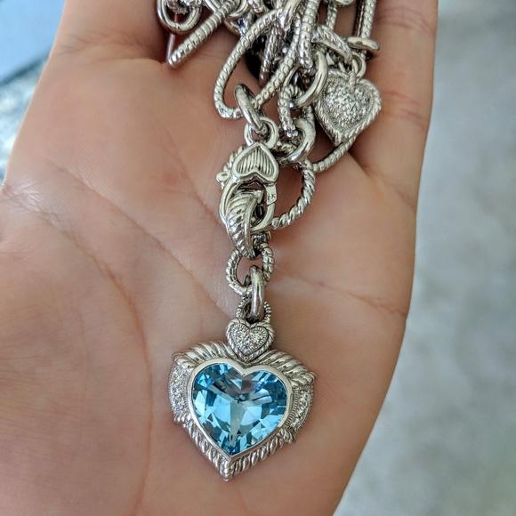 755468eeb Judith Ripka Jewelry - Judith Ripka Blue Topaz Heart Enhancer Necklace